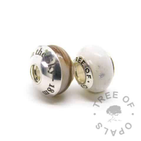 Breastmilk bead duo with Tree of Opals solid sterling silver core, silver leaf for six month breastfeeding awards silver boobies), one bead with first curl shown with engraved washer in Times New Roman font