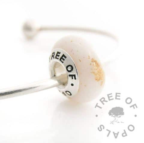 Breastmilk bead with Tree of Opals solid sterling silver core, gold leaf for one year breastfeeding awards (golden boobies)