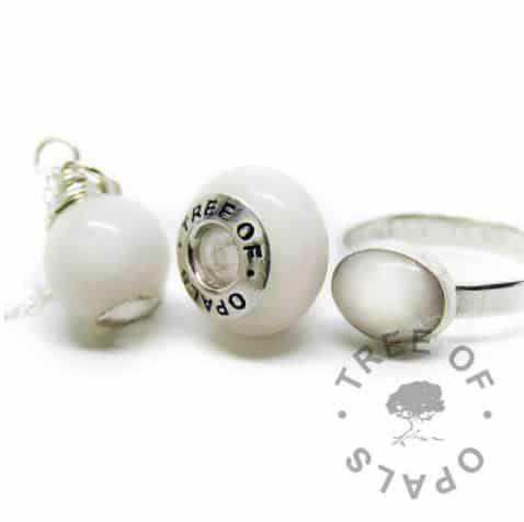 Classic breastmilk family order, orb, bead and brushed band ring in solid silver