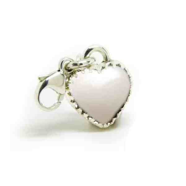 classic breastmilk heart dangle charm with solid silver setting and lobster clasp for Thomas Sabo style bracelets