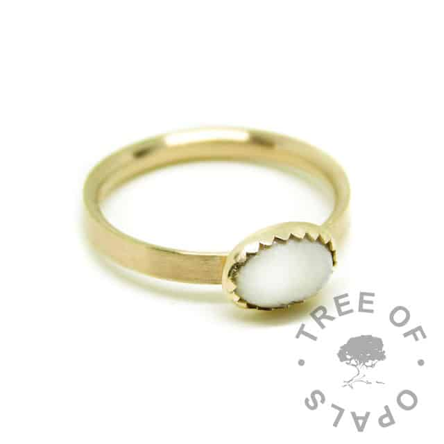 Solid 14ct gold breastmilk ring with brushed band and 8x6mm serrated bezel cup. Classic breastmilk, hallmarked gold ring