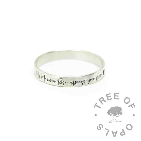 silver south script brushed ring, 3mm wide brushed stacking band, engraved on the outside with heart emoji at the end