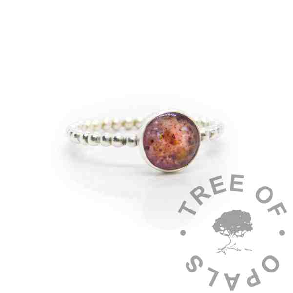 Solid silver umbilical cord bubble band ring, fairy pink resin sparkle mix.