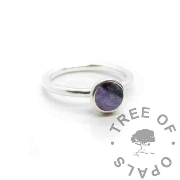 Purple lock of hair Ayla Solitaire Ring, orchid purple resin sparkle mix. Cast Argentium 935 anti-tarnish silver (higher purity than sterling)