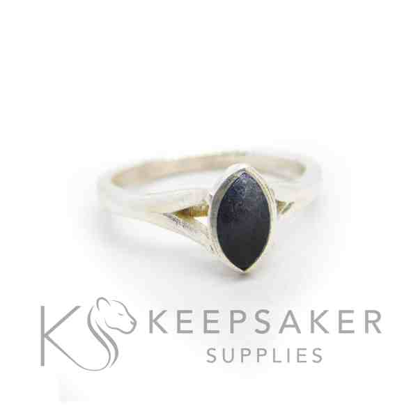 black Hannah cremation ashes ring, cremation ashes and vampire black resin sparkle mix. 8x4mm marquise setting