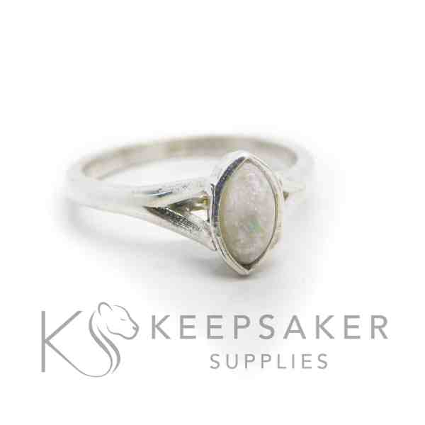 Hannah breastmilk ring, breastmilk with unicorn white sparkle mix, added genuine opal slices. 8x4mm marquise setting