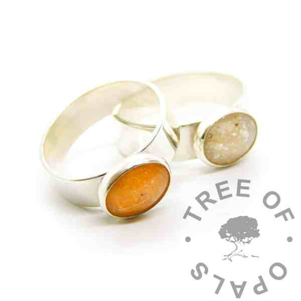 cremation ash rings chunky 6mm shiny band, 10x8mm bezel cup, one tangerine orange resin sparkle mix and one classic. Memorial jewellery with ashes