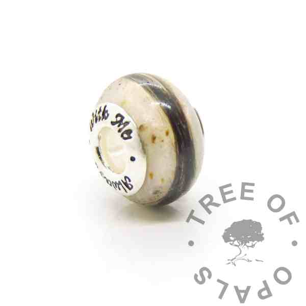baby keepsake bead, breastmilk, umbilical cord and first curl. Always With Me bead core in solid sterling silver. Breastmilk jewellery with cord and lock of hair