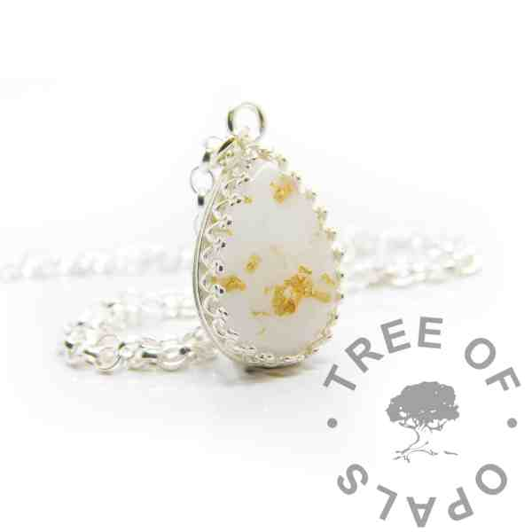 Breastmilk teardrop necklace with genuine 23ct gold leaf. Breastfeeding awards one year, golden boobies. Crown point teardrop setting in solid sterling silver, 925 stamped. Shown with a medium classic chain (not included)