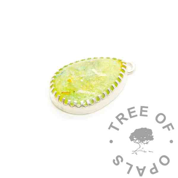 green yellow cremation ashes teardrop necklace with scalloped points, solid silver