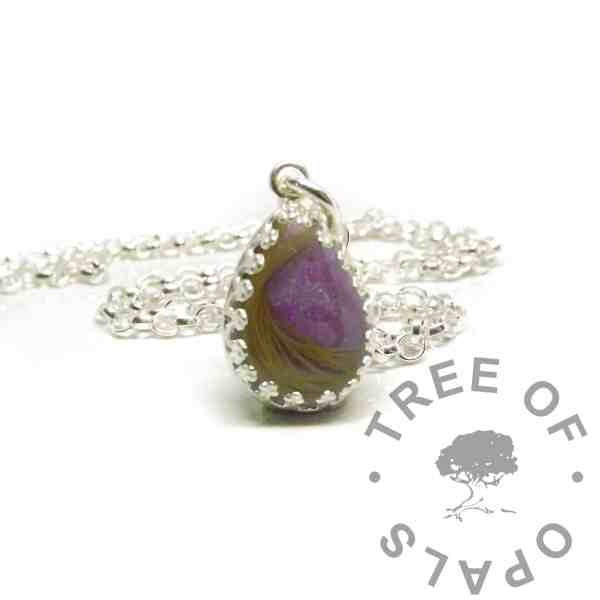 hair teardrop necklace 14x10mm teardrop setting with cabochon made with fur and orchid purple resin sparkle mix. Shown with a classic chain