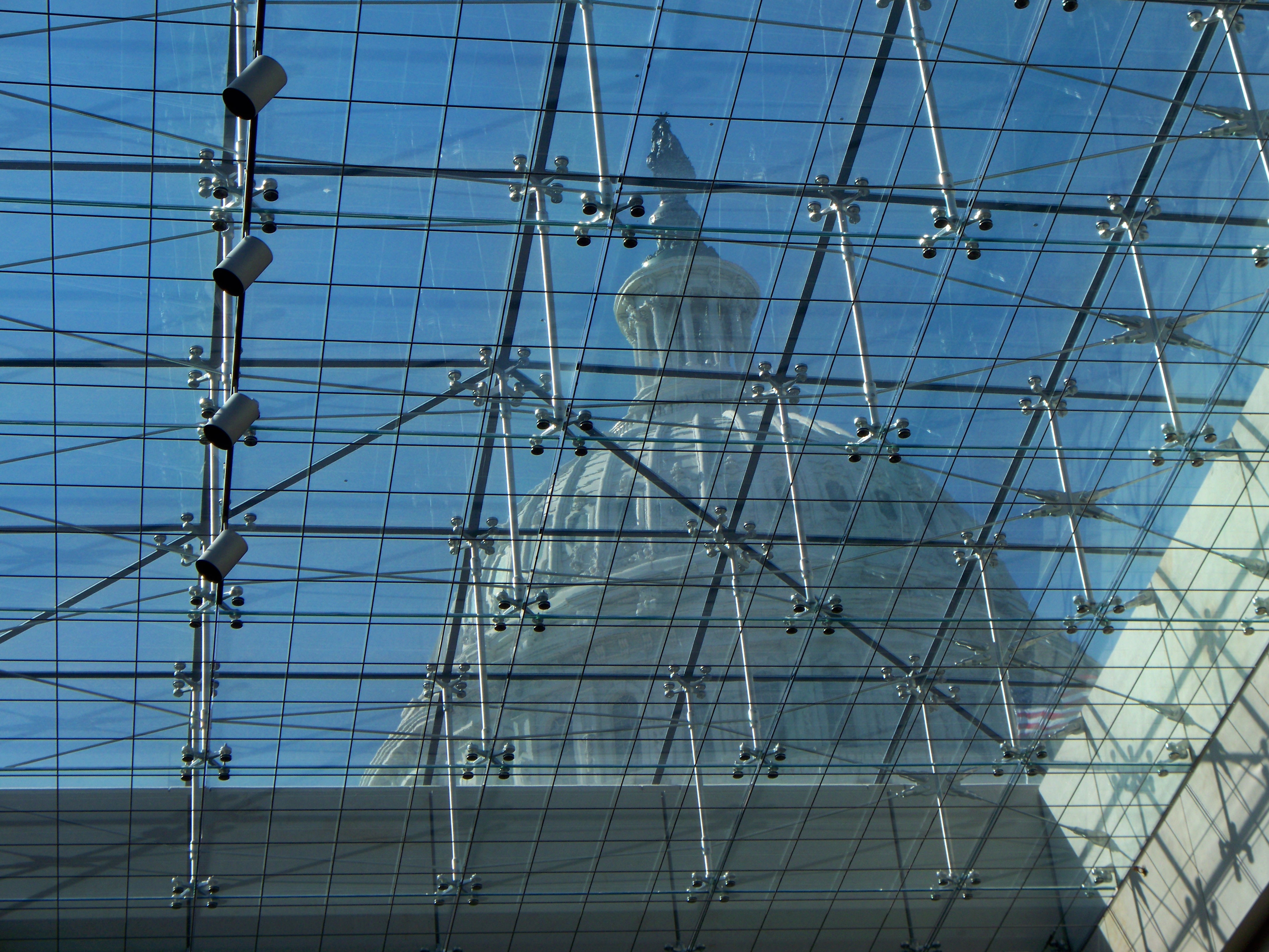View of dome from visitor center glass ceiling entrance