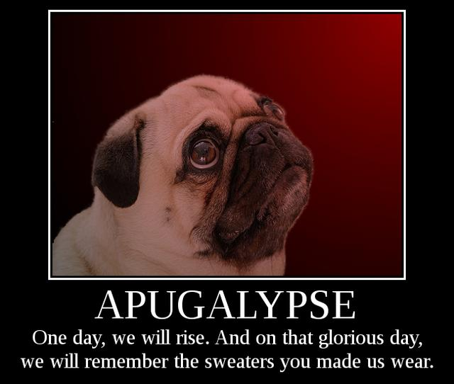 APUGALYPSE: APUGALYPSE. One day, we will rise. And on that glorious day, we will remember the sweaters you made us wear.