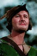 "Robin Hood (Errol Flynn): This is a photo of Errol Flynn as Robin Hood in ""The Adventures of Robin Hood."""