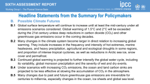 AR6 Headline Statements: Possible Climate Futures