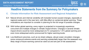 AR6 Headline Statements: Climate Information for Risk Assessment and Regional Adaptation