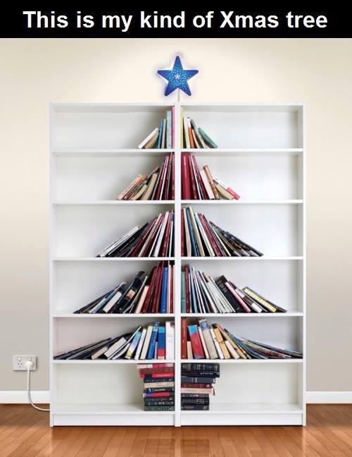 books on shelf arranged to be a tree