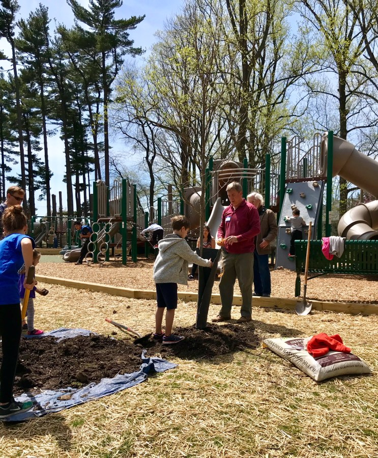Youngsters helped with the demonstration planting on Arbor Day in Falls Church.