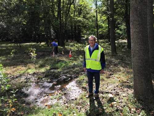 Lyndell Core, a park manager for Arlington County, oversaw installation of the 300 saplings as laid out by Andrew Knapik, the county's tree planting coordinator.