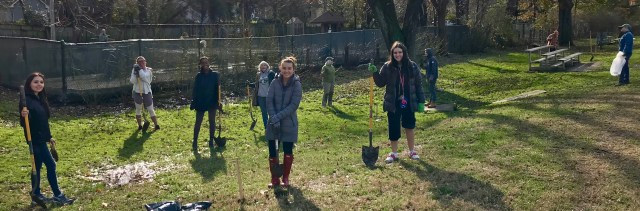 Stewards and Master Gardeners planted trees in Benjamin Banneker Park.