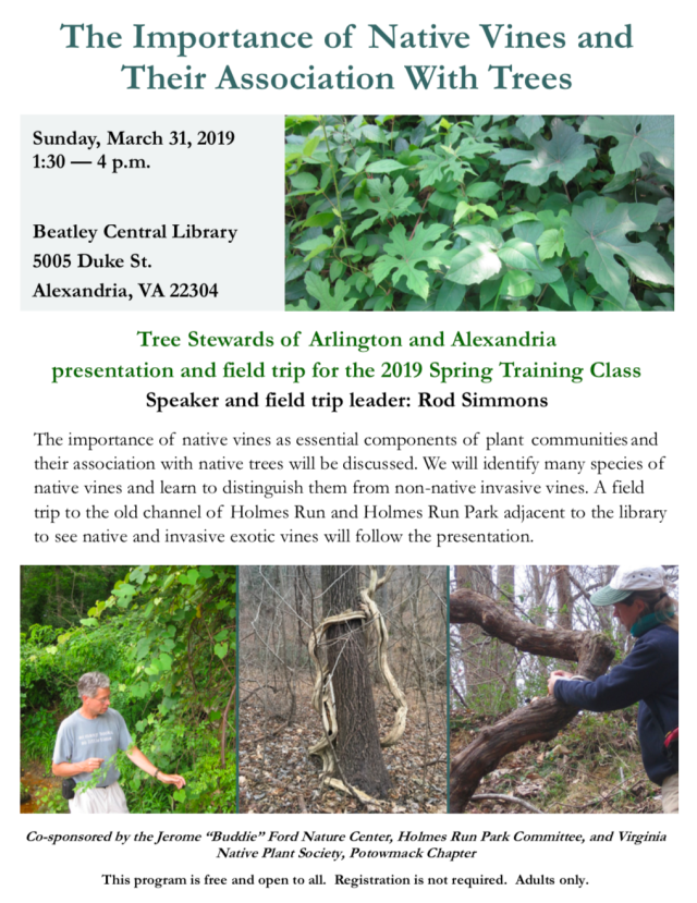 Vines and Trees lecture and walk announcement