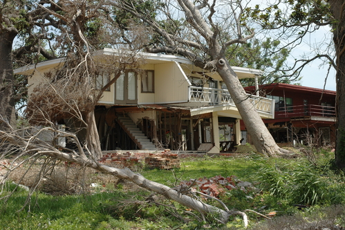Tree fallen onto house after storm