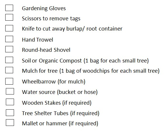 Tree Planting Tools Checklist