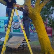 Artists Louise Fowler-Smith & Lauren Tregenza with the Pine Street Jacaranda
