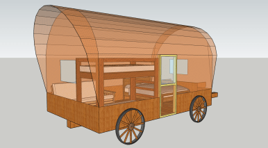 Covered wagon render with optional side door