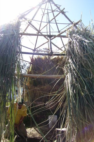 Thatch roofing of Razor Grass on bamboo circular structure, New Zealand, 2006