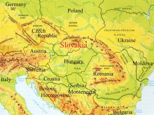 Map of central/eastern Europe, notice the mountains!
