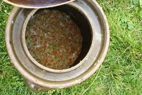 Sauerkraut fermenting at Sekier, 2015