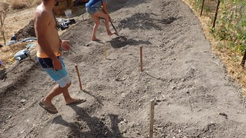 using stakes for bed layout