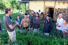 Doug teaching about plant propagation in the inner courtyard