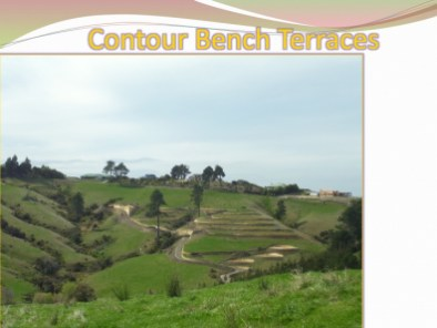contour bench terrace from a distance