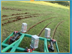 keyline rip with shankpot seeders on frame delivering cover crop