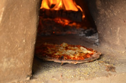 Pizza from a cob oven, fired by the stored sunlight and energy in the dense carbon of trees