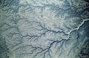 Satellite image of Yemen and the dendritic pattern taking form