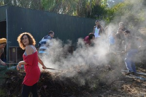 hot compost pile turning- a process to build the raw ingredient