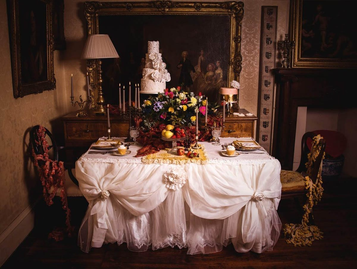 A 17th Century style Table with a large Tregothnan Bouquet centrepiece.