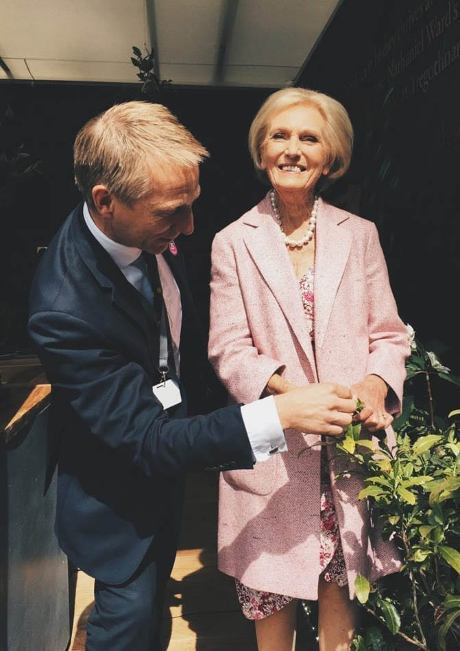 Mary Berry visiting Tregothnans Tea Stand at the the RHS Chelsea Flower Show 2017