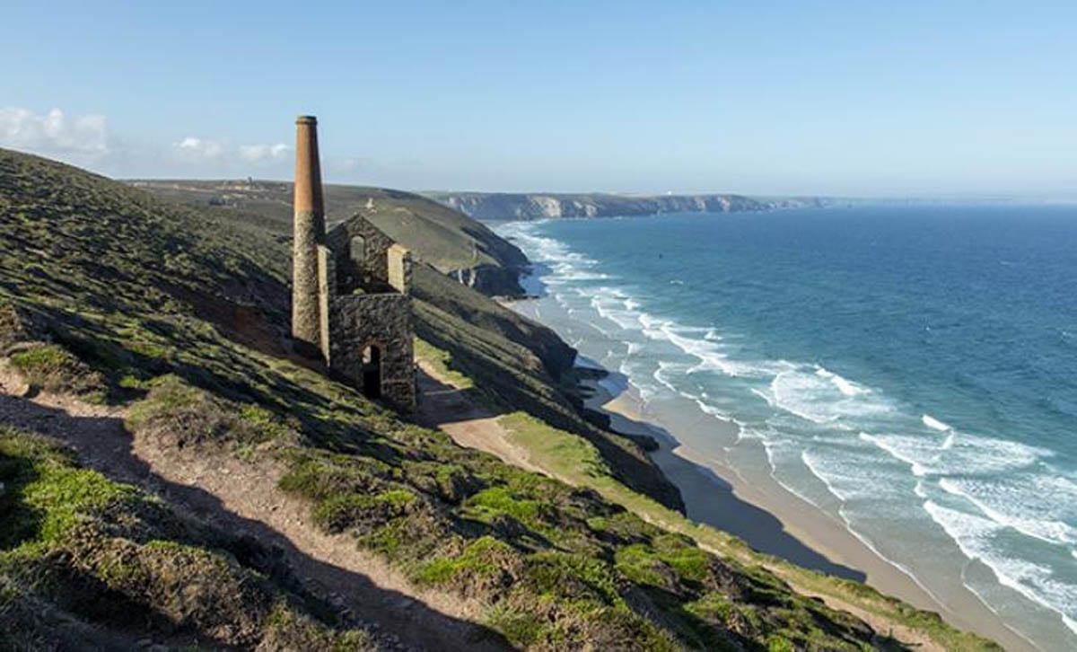 A Cornish tine mine near Chapel Porth with the Sea in the background