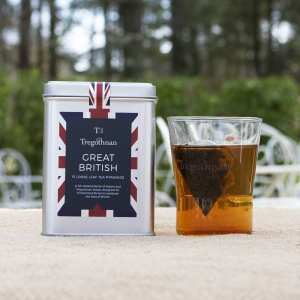Great British 15 Pyramids with brewed cup of tea