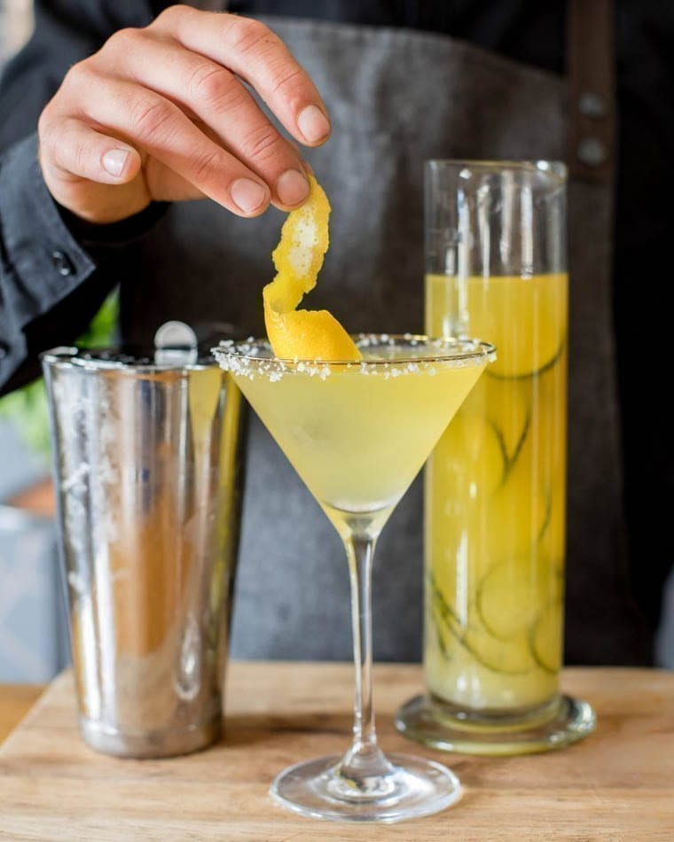 A glass of the super tart yuzu Margarita Cocktail made with Silver Tequila and Tregothnan Green Tea