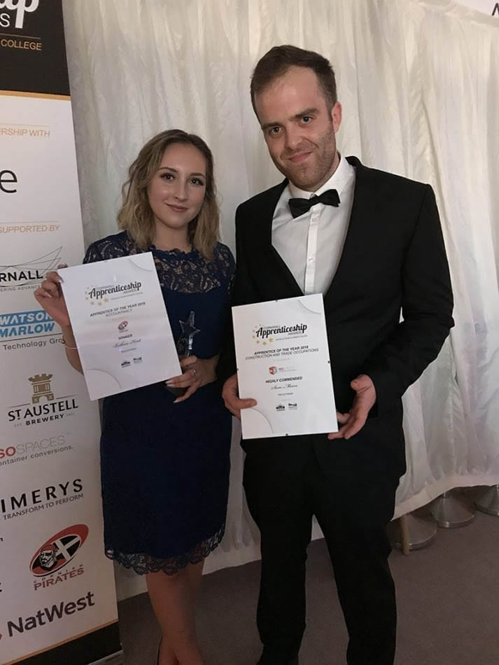 Bethan Kent and Sam Moore recognised at the 2018 apprenticeship awards