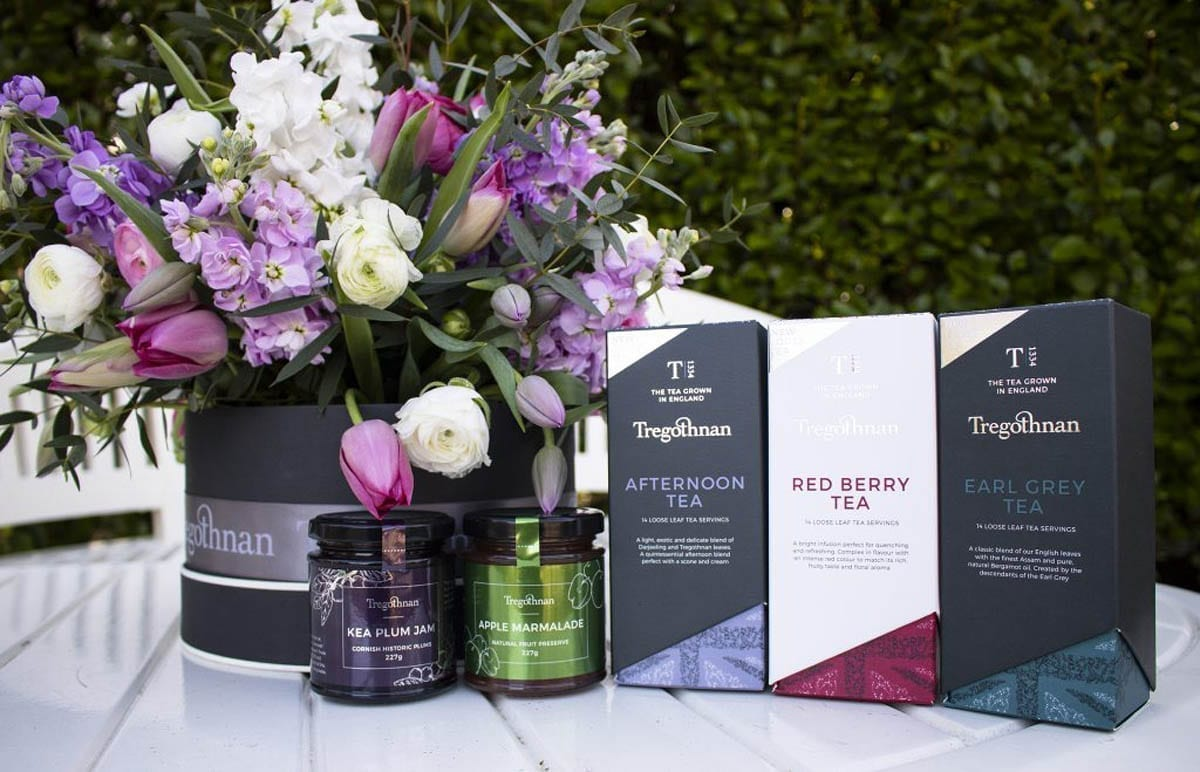 Mothers Day Competition prize including Afternoon, Earl Grey, Red berry tea and a Tregothnan bouquet