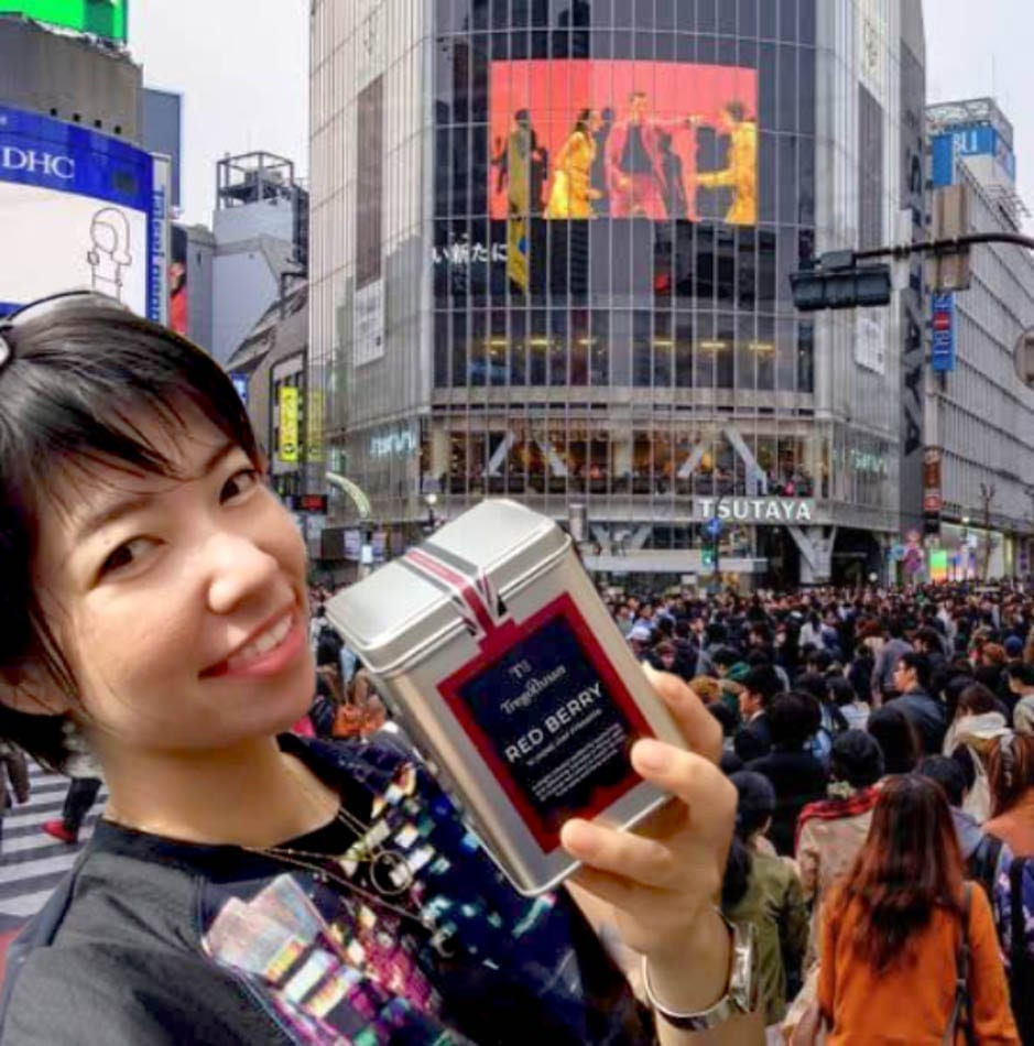 Yuko Nakanish or Daijo as we all know her posing with a tin of Tregothnan Red Berry Tea
