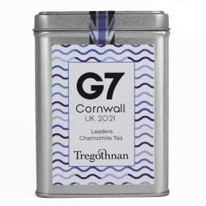 G7 chamomile tea on a white background