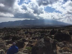 Looking down at Shira 2 Camp