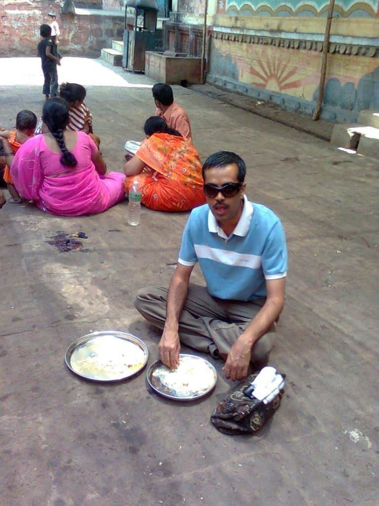 Prasad at the temple of Veerabhadra